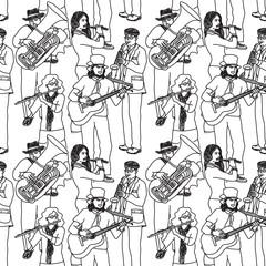 Group street musicians seamless monochrome pattern