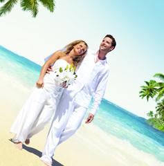 Honeymoon Couple Romantic Walking Summer Beach Concept