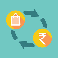 Exchange sign with a shopping bag and a rupee sign