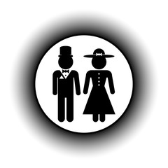 Male and female restroom symbol button.