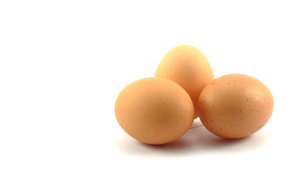 3 eggs isolated background