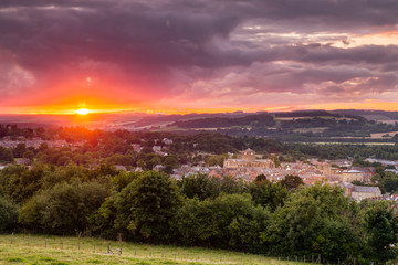 The Sun sets over Hexham