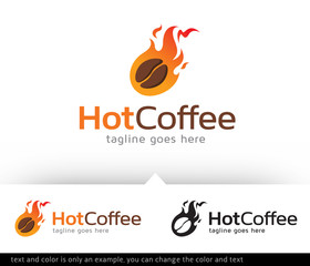 Hot Coffee Logo Template Vector