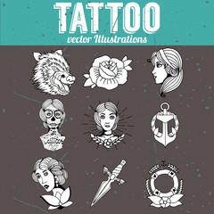 Tattoo designs vector set