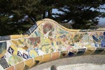 Park Güell, Barcelona, Spanien, Katalonien, Antoni Gaudí, Gaudi, Städtereise, Mosaik