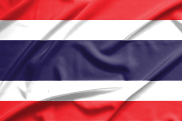 Thailand flag on soft and smooth silk texture