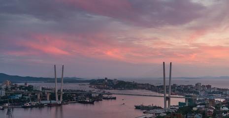 Vladivostok cityscape, sunset.