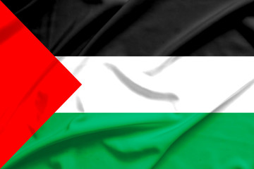 palestine flag on soft and smooth silk texture