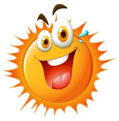 Bright sun with happy face