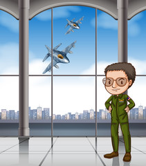 Airforce pilot at base