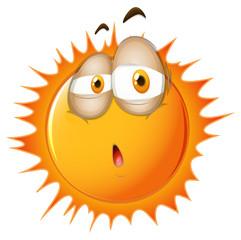 Bright sun with sleepy face