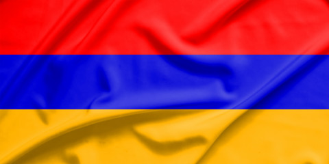 armenia flag on soft and smooth silk texture