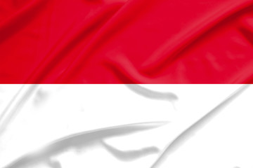 indonesia flag on soft and smooth silk texture