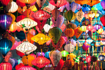 Traditional lanterns shop at night, Hoi An old town, UNESCO World Heritage Site, Vietnam.