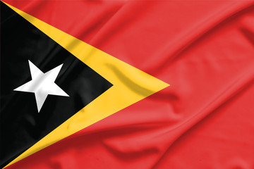 Timor Leste flag on soft and smooth silk texture