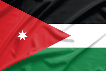 Jordan flag on soft and smooth silk texture