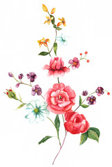 A vintage style watercolour drawing of a bouquet of roses and other flowers