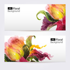 Two floral watercolor banners with iris flowers
