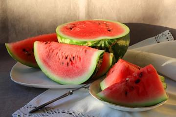 Ripe melon, cut into pieces..