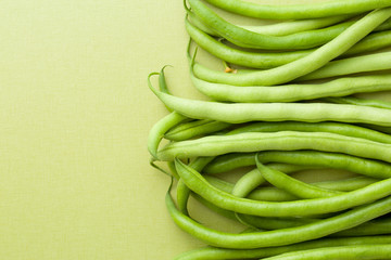 green beans on green table