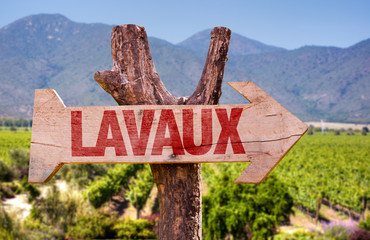 Lavaux wooden sign with winery background