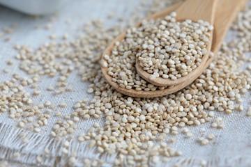 Whole Grain Quinoa on Bamboo Spoons