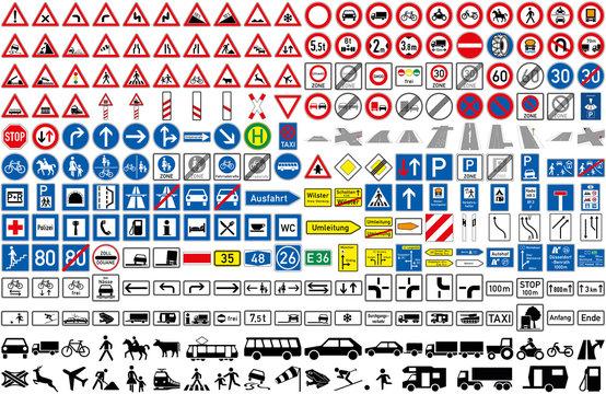 Verkehrszeichen StVO Auto Transport Fahrzeug Strasse icon Achtung Warnung PKW LKW