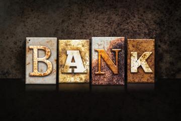 Bank Letterpress Concept on Dark Background