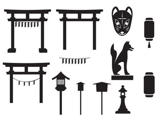 black silhouette traditional object in japan, japan gate and mo Wall mural