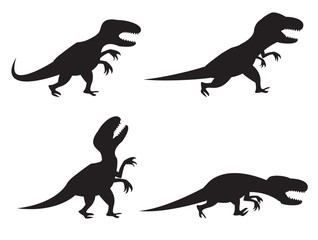 Black Silhouette of T-rex and Velociraptor in movement, angry,ru