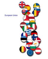 Kronenkorken in den Farben der EU
