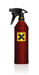 Poison spray bottle for plant toxins, insecticides, pesticides, biocides etc - with a black x on a yellow square as a hazard warning sign for harmfulness or irritants. Isolated vector illustration.