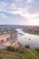 Koblenz, Ehrenbreitstein, Ansicht der Deutschen Eck mit der Seil