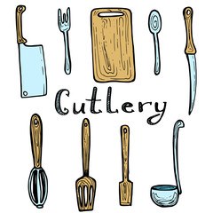 Hand drawn cutlery doodle set