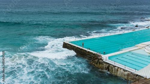swimming at icebergs at bondi beach in australia sydney
