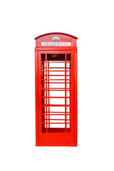 Classic British red phone booth isolated on white