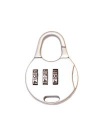 Small lock with numbers combination on white