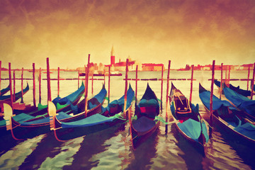 Vintage painting of Venice, Italy. Gondolas on Grand Canal