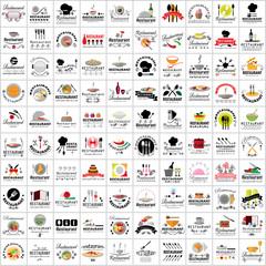 Restaurant Flat Icons Set - Vector Illustration
