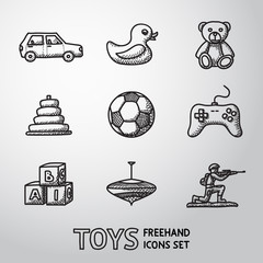 Toys hand drawn icons set with - car, duck, bear, pyramid, ball