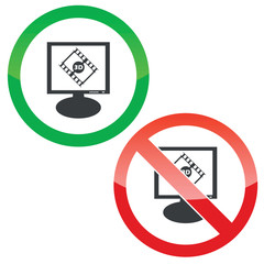 3D movie monitor permission signs