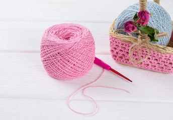 Yarn for crochet and  basket for handmade in shabby chic style