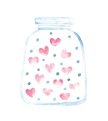 jar with hearts