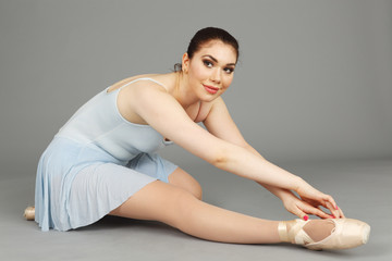 A ballerina dancing.