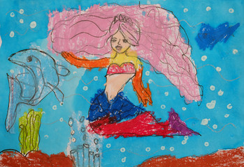 Child's painting - mermaid and dolphin