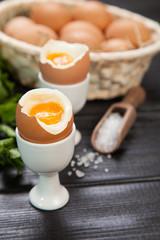 Boiled eggs on dark background