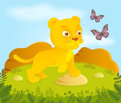 Little cartoon lion with butterflies