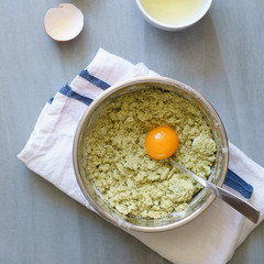 Yolk added to crumbles for matcha cookies