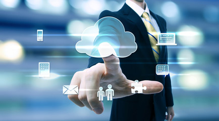 Business man with cloud computing concept