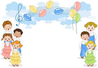 Coro di Bambini con Sfondo Bianco Orizzontale